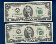 2x consecutive $2 1995-F Atlanta GEM UNC Notes;Two dollar bills