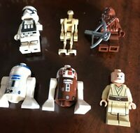 LEGO Star Wars MiniFigure lot x 6 R2-D2 R7-D4 Clone Trooper Chewbacca Droids