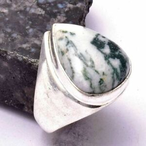 Tree Agate Ethnic Handmade Man's Ring Jewelry US Size-9 AR 27298