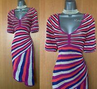 KAREN MILLEN Metallic Zig Zag Knitted Crochet 3/4 Sleeves Jumper Dress 2 UK10