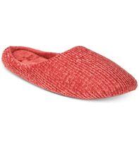 Charter Club Women's Chenille-Knit Scuff Slippers, Red, Medium 7/8 (A35-33)