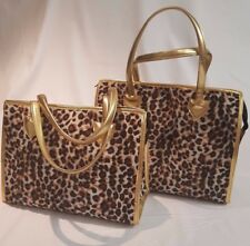 Leopard Faux Fur Overnight Tote Bag Rockabilly Pinup Vintage Style >> NEW Medium