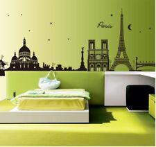 Wandtattoo Wandsticker Wandaufkleber Skyline Stadt Paris Schwarz 190 x 70 W141