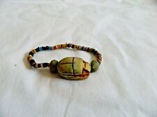 "Egyptian Clay Beaded Pharaoh Scarab Children Bracelet Unique 6"" Round"