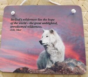 Wolf wall hanging , positive saying wall plaque , wolf design on wall hanging