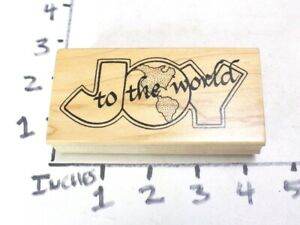 Wooden RUBBER STAMP Block Christmas Joy to the World by Darcies
