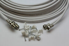 15m White Twin Satellite Shotgun Extension Cable Sky Plus SKY HD & Cable Clips