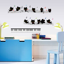 Music Cat Bedroom Home Decor Removable Wall Stickers Decals Decoration