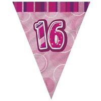Pink Glitz 16 Flag Banner 12 Ft String Flags 16th Birthday Party Decorations