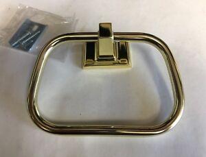 Vintage Polished Brass Gold Color Towel Ring Holder Stirrup style hanger Bath