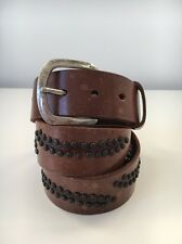 SALE Men's Strong leather Brown belt with studs Made In Europe