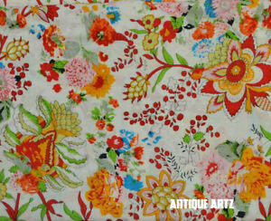 Indian Handmade Gray Screen Print Floral 5 Yards Cotton Fabric Sewing Cloth