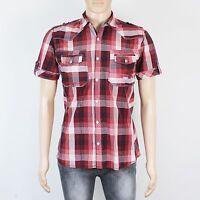 Next Mens Size M Burgundy Check Short Sleeve Shirt