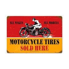 Motorcycle tires motocicleta neumáticos Neumáticos sold here retro sign chapa escudo Escudo
