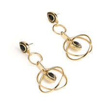 NEW SAMANTHA WILLS Mythology Geometry Earrings Black Agate Gold Tag Pouch