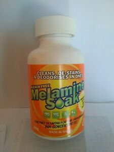 Melamine Soak. Cleans, De-Stains and Deodorises In One. Provides up to 20 washes