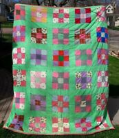 Vintage Handmade Quilt Colorful Full or XL Twin Size Patchwork 87x73 Nine Patch
