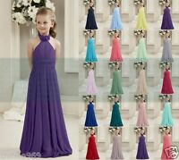 New Formal Chiffon Halter Bridesmaid dress Junior Flower Girl Dresses 2-14 Years