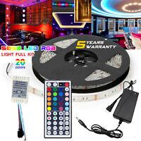 5M RGB 5050 Waterproof 300 LED Strip Light 44 Key Remote 12V US Power Full Kit