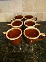 Vintage - McCoy Pottery - Brown Drip Glaze Mugs Coffee Cups - Set of 6