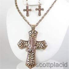 Boot cross crystal gold chain western charm chunky pendant earring necklace set