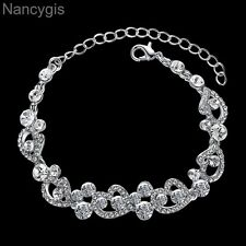 Silver Crystal Heart Party Gift Bridal Wedding Bracelet