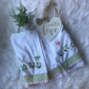 Vtg Pottery Barn Kids Baby Girl's Butterfly Pink Floral Embroidered Crib Skirt