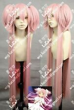 Women Long Pink Straight Hair Cosplay Magical Girl Round Kaname Madoka Full Wigs