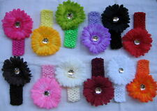 24 Pcs Spring Daisy Flower Clip Crochet Headband lot Gift Baby Girl Wholesale