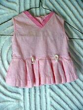 60s Pink seersucker striped Little Girls Summer top 20b