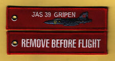 JAS 39 Gripen Remove Before Flight Embroidered Aviation keyring/fob/tag - New