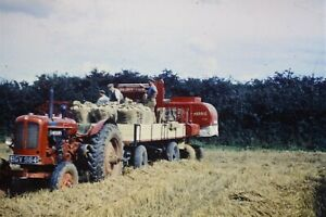 35mm Glass Slide Nuffield Tractor & Massey Harris Combine Harvester At Work 1958