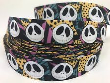 "By The Yard 7/8"" Disney Jack Skellington Grosgrain Ribbon Hair Bows Lisa"