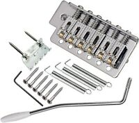 Roller Saddle Tremolo Bridge with Bar for FD Strat Squier Electric Guitar chrome