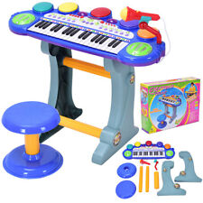 37 Key Kids Musical Electronic Keyboard Organ Piano Microphone Synthesizer Stool