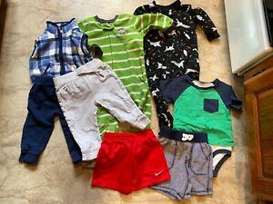 8 pc Sz 12 mo. BOYS sleepers pants fleece vest shirt Nike Carter's Old Navy