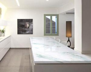 White Green Marble Self Adhesive Wallpaper Peel & Srick Contact Paper Waterproof