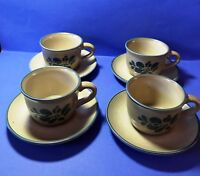 Set of 4 Pfaltzgraff FOLK ART cups/saucers  Blue Tan Stoneware USA