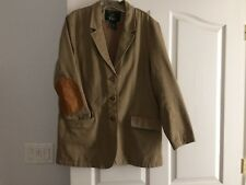 SALE Vtg. Orvis Khaki Tan Cotton Leather Safari Travel Jacket Sport Coat M (GC4)