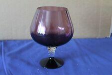 More details for vintage cranberry colour large cognac glass