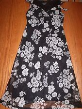 NEW WOMENS FIATH PASSION BLACK DRESS WHITE FLOWERS SIZE SMALL S