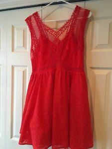 FREE PEOPLE Red Poppy Lace Mini Dress M New