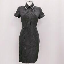 Karen Millen Dress UK 10 Black White Striped Formal Pencil Short Sleeve 282062