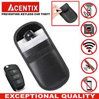 ACENTIX Keyless Car Key RFID Signal Blocker Faraday Bag Pouch Fob Leather Case