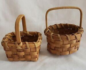 "2 Piece Vintage Tender Heart Treasures Natural Woven Mini Basket Set 4"""