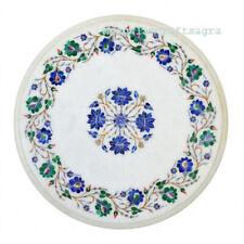 "18"" White Marble Table Top semi precious stones inlay Handmade Home Decor"