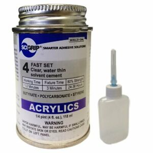 Weld-On Clear Acrylic Plastic Cement Applicator 4 Oz Very Fast Solvent Bonding