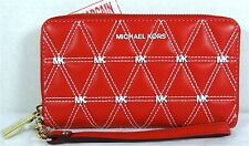 Michael Kors Red White Quilted Leather Large Flat MF Phone Case Wristlet