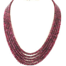 7 Strands Natural Ruby Cabochon Beaded Necklace - 925 Silver Ruby Clasp