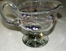 Vintage Crystal Glass Footed Gravy Boat Pitcher With Hand Painted Flowers